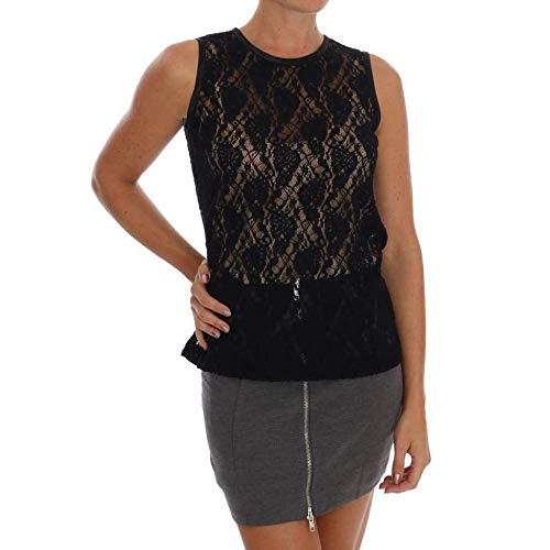- Dolce & Gabbana Black Floral Lace Blouse Top