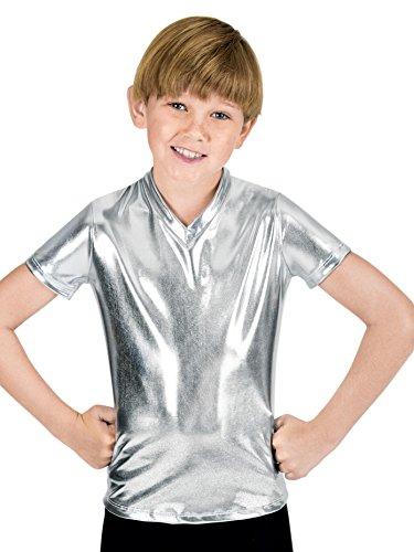 Double Platinum Boys Short Sleeve T-Shirt,N7086CSILL,Silver,Large -