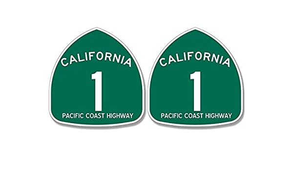 Highway ca rv Beach Route Road American Vinyl PCH 1 and Big SUR Sign Shaped Sticker 2 Pcs
