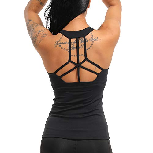 COLO Women Yoga Tank Top Workout Tops Open Back Racerback Built in Bra Removable Pad -Cross Black(L)