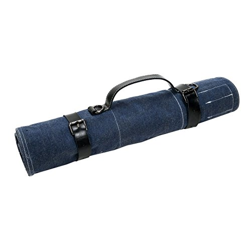 TUYU Large Size Chef's Knife Roll Handmade Durable Blue Denim Knife Roll Bag for Chefs with PU Handle Multi-Purpose Gift for Pro Chef or Culinary Enthusiasts BD0016
