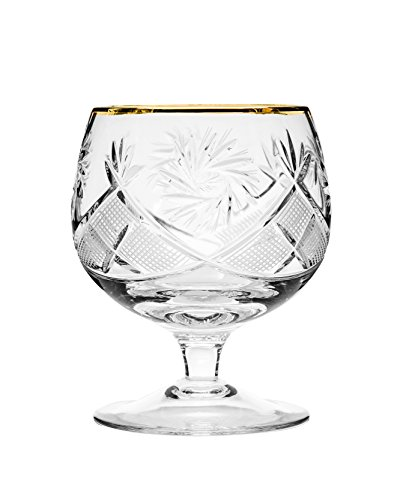 Neman GB5290G, 10 Oz. Crystal Hand-Made Brandy Glasses with Gold Rim, 24K Gold-Plated Scotch Whiskey Cut Crystal Snifters on a Stem, Wedding Drinkware, Set of (Armenian Brandy)