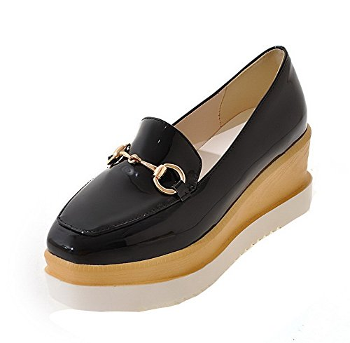 Solid Kitten heels shoes Odomolor Leather Patent Closed Women's Black Toe Square Pumps qA7xw1O7Y