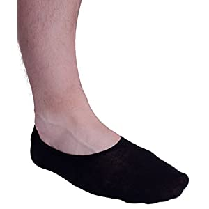 No Show Socks For Men 3pk Quality Cotton Lge Heel Grip Non Slip Black, Medium