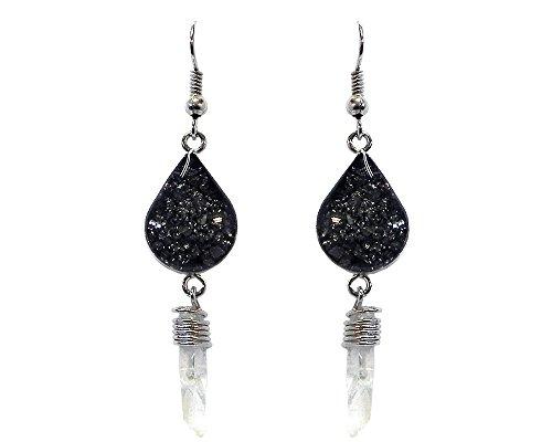 Chip Stone Inlay Teardrop Shape Quartz Crystal Dangle Earrings (Gray Pyrite)