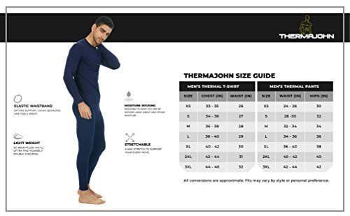 Thermajohn Men's Ultra Soft Thermal Underwear Long Johns Set with Fleece Lined 6