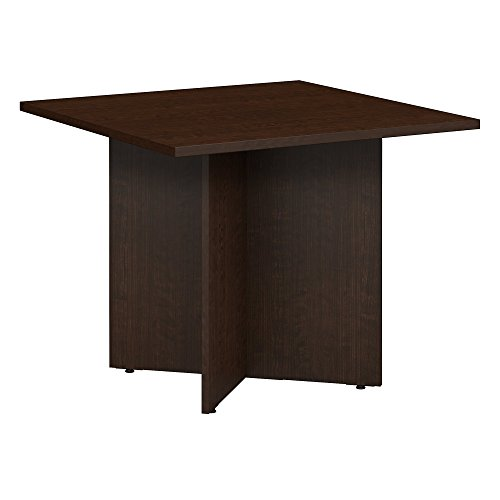 Bush Business Furniture 36W Square Conference Table with Wood Base, Mocha Cherry