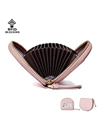 Credit Card Holder for Women, IBFUN Leather Wallet with RFID Blocking Small Accordion Wallet Pink