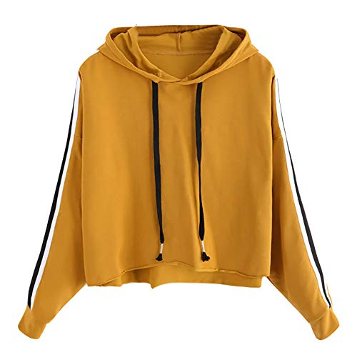 Amiley Women Fall Hoodies,Women Teen Girls Stripes Hoodie Sweatshirt Jumper Sweater Crop Pullover Tops (Large, Yellow)
