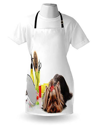 Lunarable Dog Lover Apron, Yorkshire Terrier with Grooming Items Haircut Scissors Mirror Comb Print, Unisex Kitchen Bib with Adjustable Neck for Cooking Gardening, Adult Size, White Yellow 3
