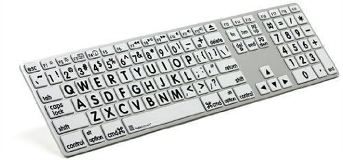 Logickeyboard Large Print Apple black on white keyboard compatible with Mac Os X v10 or later- LKBU-LPRNTBW-AM89-US ()