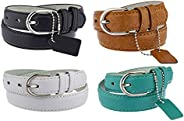 Bundle of 4 Girls Faux Leather 1 inch Solid Colors Casual Belt - Available from Small to X-Large