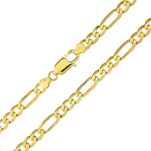 Revoni Bague en or jaune 9carats-26,2G-Collier Femme-Maille Figaro, 61cm/61cm Longueur, Largeur: 5.8mm