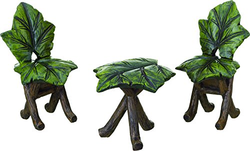 Transpac Set of Three Mini Resin Leaf Chair/Table, 3 Piece
