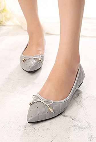 Sliver Flat Pointed Shoes Bows Women's CHICKLE Toe 5 with wAH101
