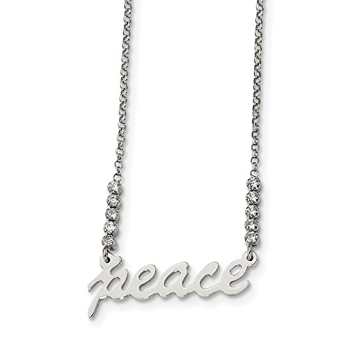 925 Sterling Silver Cubic Zirconia Cz Peace Chain Necklace Pendant Charm Inspirational Fine Jewelry Gifts For Women For -