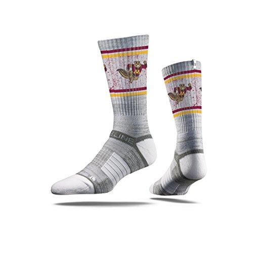 Strideline NCAA Minnesota Golden Gophers Premium Athletic Crew Socks, Grey, One Size