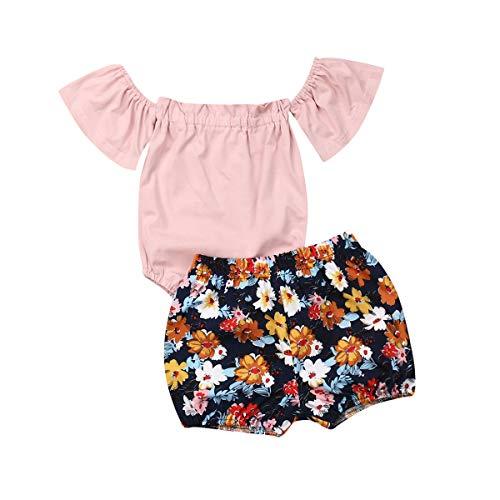 Newborn Baby Girls Summer Outfits Off Shoulder Ruffle Short Sleeve Romper + Florals Bloomer Shorts Pants Set (0-6 Months, Pink)