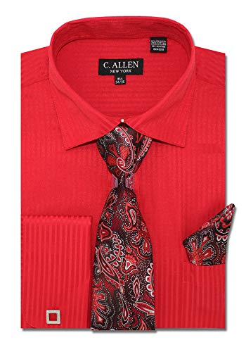 (C. Allen Men's Solid Striped Pattern Regular Fit Dress Shirts with Tie Hanky Cufflinks Combo 16.5 Neck 36/37 Red)