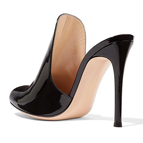 Fsj Vrouwen Glanzende Muilezels Sandalen Glijslip Slippers Stiletto Hoge Hakken Slip-on Schoenen Maat 4-15 Us Zwart Patent