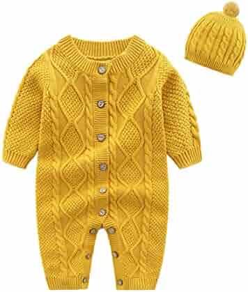 cb414e3ca Mornyray Newborn Baby Girls Boys Sweater Jumpsuit Winter Knit Romper Clothes