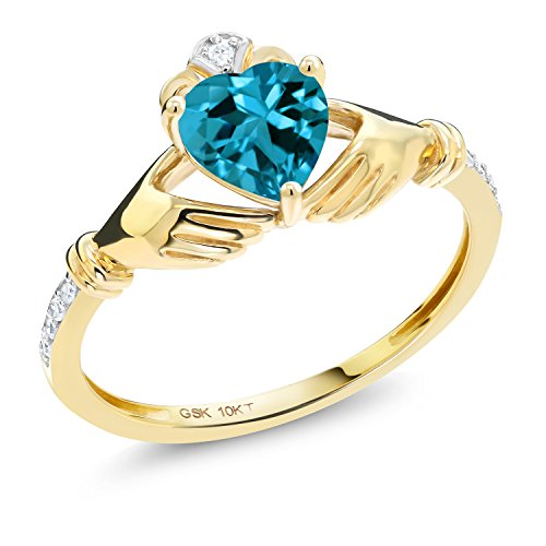 (Gem Stone King 10K Yellow Gold London Blue Topaz and Diamond Accent Irish Celtic Claddagh Ring (1.01 Ct Available in size 5, 6, 7, 8, 9))