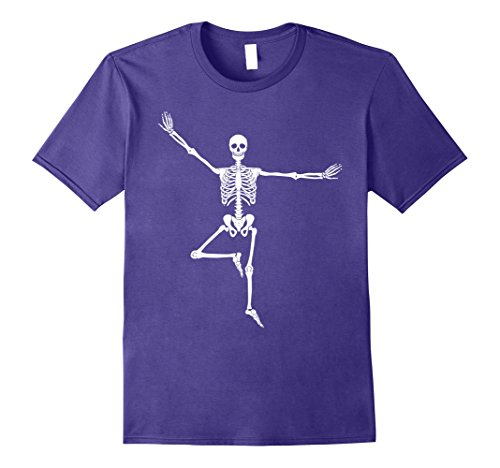 Yoga Trainer Costume (Mens Halloween Funny Skeleton Yoga T-Shirt Men Women Kids Medium Purple)