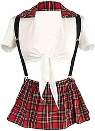 196bd85f19 Jiuhexu Women's Sexy School Girl Plaid Uniform Cosplay Plaid Skirt Lingerie  Set