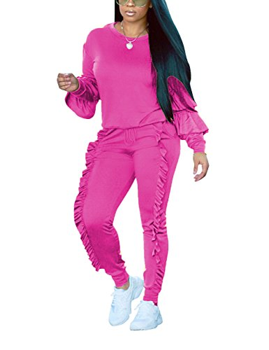 (Akmipoem Two Piece Outfit Bubble Satin Ruffle Sport Suit Sweatshirt and Sweatpants for Junior Rose XXL)