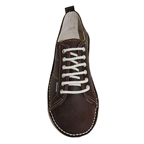 Zapatos Cordones Mujer Sneaker Ante Marron Piel De Con 5CrWz5