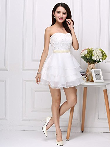 for Cocktail Prom Party Organza Pearls Girls Drasawee Dresses Short Teen White Strapless 4RqBn8X