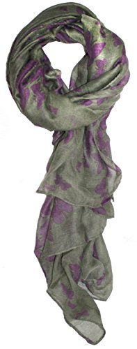 Ted and Jack - Graceful Butterflies Silhouette Print Scarf (Grey with Purple) (Purple Viscose)