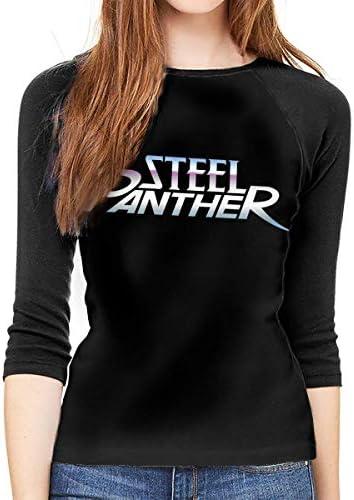 fghjfgdjhfd Frauen 3/4 Ärmel T-Shirts Steel Panther Women's Shirt 3/4 Sleeve Casual Scoop Neck Tops Tee S-XXL Black T-Shirt: Odzież