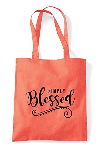 Decorative Simply Coral Bag Tote Shopper Statement Blessed U0zxq0R