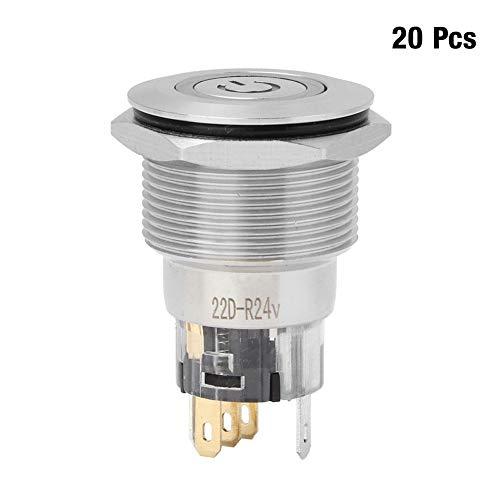 金属製押しボタンスイッチ、20個のステンレス鋼自動リセットNC + NC + Cフラットリングヘッド、家庭用電化製品の電源ラベルボタンスイッチ付き(赤)