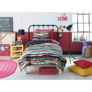 Xhilaration Layered Stripe Twin /Xl Comforter Set Reversible