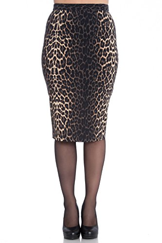 Hell Bunny Panthera Leopard 50s Vintage Retro Work Office Party Pencil Skirt - (L) (Stretch Skirt Leopard)