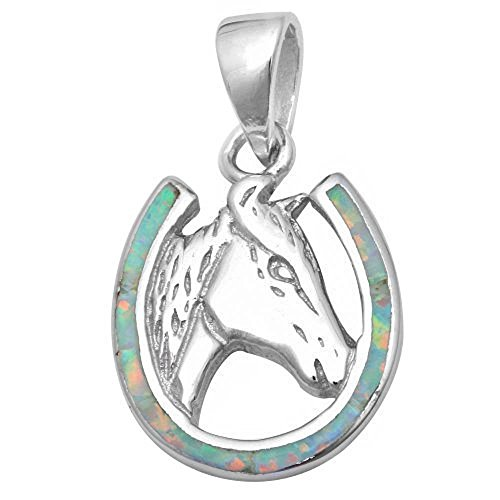 - Lab Created White Opal Horse in Horse Shoe .925 Sterling Silver Pendant
