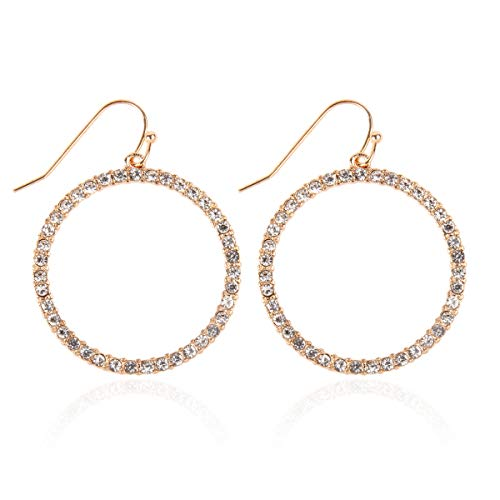 Sparkly Simple Lightweight Geometric Open Hoop Drop Earrings - Cut-Out Dangles Teardrop/Pear/Pointy Oval/Marquise/Circle Cubic Zirconia Crystal/Multi Rhinestone/Acrylic Pearl (Circle - Gold)