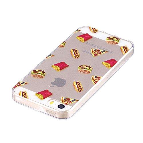 iPhone 5 5S SE Custodia , Leiai Moda Cibo Silicone Morbido TPU Cover Case Custodia per Apple iPhone 5 5S SE