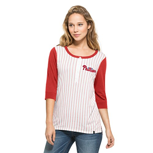 MLB Philadelphia Phillies Women's '47 Team Triple Crown Henley Long Sleeve Shirt, X-Large, White (Philadelphia Phillies Womens Fashion)
