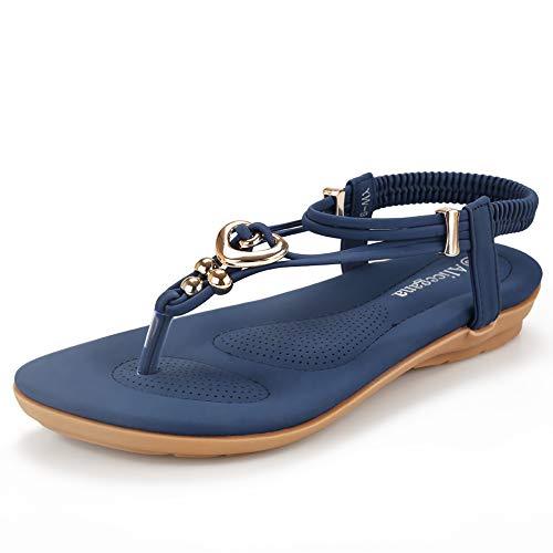 Women's Summer Bohemian Beaded Ankle Walking Strap Sandals Size 6 7 8 9 Casual Flip Flops Ladies Beach Sexy Flats Shoes (5 B(M) US, DarkBlue) ()