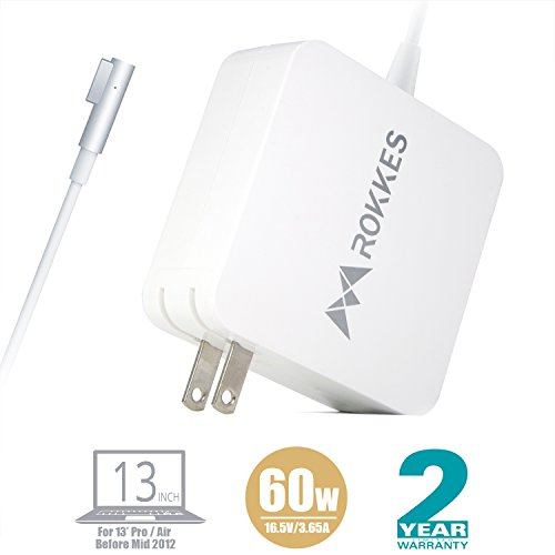 Macbook 13'' Mac Pro/Air Charger - 60W Magsafe L-Tip MAC Power Adapter, Replacement For Apple Old MacBook Pro/Air 11.6/13.3 (Mid2012 Before), Mac Pro Laptop charger A1278 A1344 A1181 A1184
