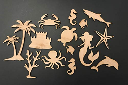 - 14-Pack Sea Life Ocean Decor Wall Laser Unfinished Wood Cutout Crafts Shapes Cut Outs 5.5