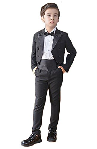 Aokaixin Boy's Slim Fit Tuxedo 4pc Suit for Wedding Evening Party (120cm) by Aokaixin