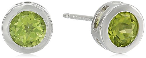 Bezel Peridot Stud Earrings (Sterling Silver Round Genuine Peridot 5mm August Birthstone Bezel Set Stud Earrings)
