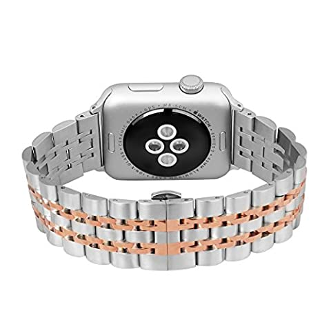 DEKER Apple Watch Bands 42mm, Stainless Steel Metal Wristband Replacement Strap Bracelet with Classy Butterfly Clasp for iWatch Series 2 & 1 Sport Nike+ Edition (Rose Gold and (Classy Sports Watch)