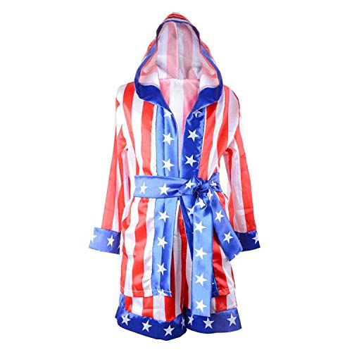 Classic Movie Clothes Apollo American Flag Children Boxing Costume Robe Cloak Hooded Shorts Kids Italian Stallion Suits (Red/White/Blue, M) -