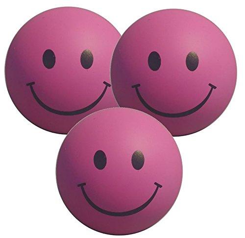 Stressballs 3 x Rosa – Smiley Stress Ball - Antistressball , Knautschball – Kleiner Ball, Grosse Stresserleichterung StressCHECK S84