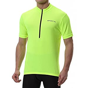 Spotti Basics Men's Short Sleeve Cycling Jersey - Bike Biking Shirt (Yellow, Chest 42-44 - XL)